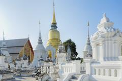 Chedis (stupas) at the temple of Wat Suan Dok, Chiang Mai, Thailand, Southeast - stock photo