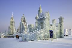 Spectacular ice sculptures at the Harbin Ice and Snow Festival in Harbin, Stock Photos