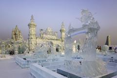 Spectacular ice sculptures at the Harbin Ice and Snow Festival in Harbin, - stock photo