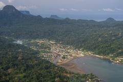 Aerial view of the UNESCO Biosphere Reserve, Principe, Sao Tome and Principe, Stock Photos