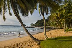 Beautiful beach in the Bom Bom Resort, UNESCO Biosphere Reserve, Principe, Sao Stock Photos