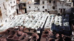 Tannery pits in Morocco Stock Footage