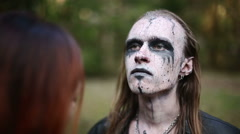 Artistic makeup for footages actors about Paganism. Stock Footage