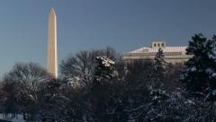 Washington monument winter Stock Footage