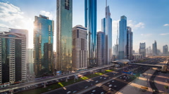 Time lapse - Dubai, Sheikh Zayed Rd, traffic and new high rise buildings Stock Footage