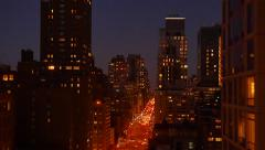 Stock Video Footage of urban city lifestyle background of new york city buildings skyscrapers at night