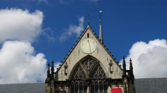 Sun dial on church top Amsterdam, time lapse Stock Footage