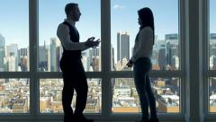 young business people talking together. office meeting. urban city skyline - stock footage