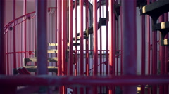 Walk around iron stairs in tower looking through window 4K Stock Footage