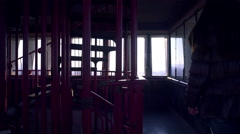 Inside tower with windows all around view outside 4K Stock Footage