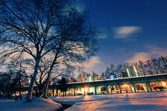 city at night in winter - stock photo