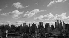 Black and white urban city lifestyle background of new york city buildings Stock Footage
