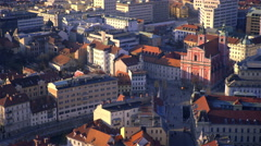 City center Preseren Square from above 4K Stock Footage