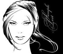 beauty girl face - stock illustration