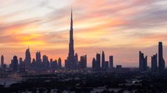 Time lapse - UAE, Dubai, the Burj and city skyline Stock Footage