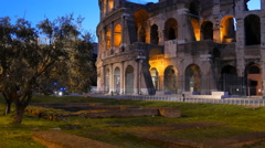 Entrance to the Colosseo at dawn. Rome, Italy. 4K - stock footage