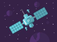 Satellite with Astronauts in Outer Space - stock illustration