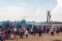 Bun Bang Fai, E-San of festival, Torpedo of Thailand, Thailand tradition. - stock photo