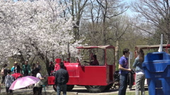 High Park tractless train moving down the Grenadier Hill Spring 2015 Stock Footage