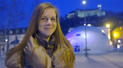 Portrait shot of Female citizen of Ljubljana city 4K Stock Footage