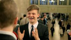 coworkers having a funny conversation. laughing people scene - stock footage