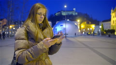 Woman take a photo at night with smartphone 4K Stock Footage