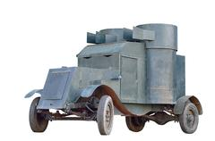 armored car on white background - stock photo
