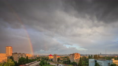 Rainbow in the city - stock footage