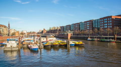 Speicherstadt and harbor district with boats in the evening Hyperlapse Stock Footage