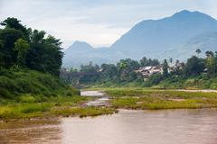 Morning scene of Luang Prabang, Laos. - stock photo