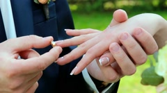 Wedding rings. groom and bride with wedding ring. hands of wedding couple. Stock Footage