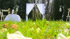 Wedding aisle decor. wedding set up in garden, park. outside wedding ceremony Stock Footage