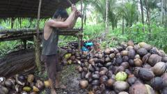 Young man splitting coconuts with axe in bare feet Stock Footage