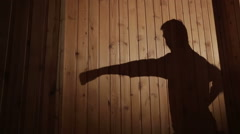 A very powerful blow performs a master of traditional karate, shadow vew Stock Footage