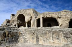 Cave cluster ruins in Uplistsikhe's ancient town,eastern Georgia,Caucasus Stock Photos