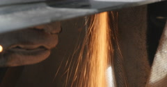Hand-held  metal surface angle grinder Stock Footage