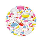 pills and capsule in circle. - stock illustration