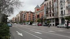 Traffic in Madrid, Spain. Calle Ferraz, Plaza Espana. Stock Footage
