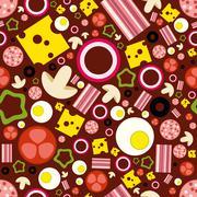 pizza ingredients seamless pattern - stock illustration