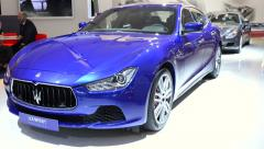 Maserati Ghibli and Maserati Quattroporte luxury saloon cars Stock Footage