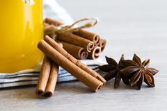 anise and cinnamon, on wooden table.. - stock photo