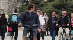 Cyclists exploring the city. Madrid, Spain. Tourists Stock Footage