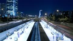 Hashalom Station blue-tilt up Stock Footage