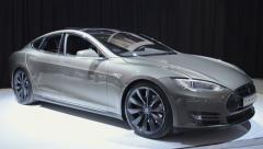 Tesla Model S electric car Stock Footage