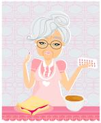 Elderly woman taking her medication with her meal - stock illustration