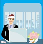 Stock Illustration of workaholic sick in the office