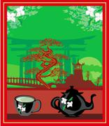 Stock Illustration of banner with a kettle, the scenery and the Chinese character Tea