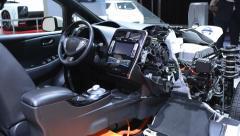 Nissan Leaf full electric car Stock Footage