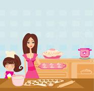 Happy daughter helping her mother cooking in the kitchen - stock illustration