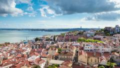 Lisbonn4K timelapse of Lisbon rooftop from Sao Vicente de fora church  in Pore17 Stock Footage